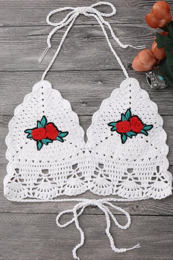 cdff418ad4158 Floralkini White Floral Embroidered Crochet Triangle Bikini Top – FloralKini