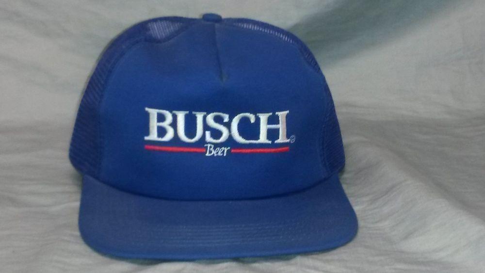Vintage Busch Beer Trucker Hat Anheuser Snap Back  b99eff14ea63
