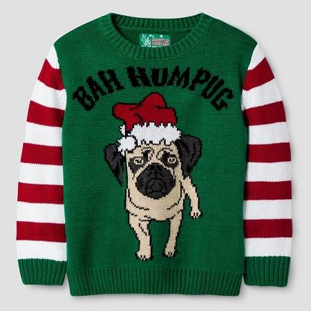 Ugly Christmas Sweater Toddler Boys' Ba Hum Pug Sweater - Emerald ...