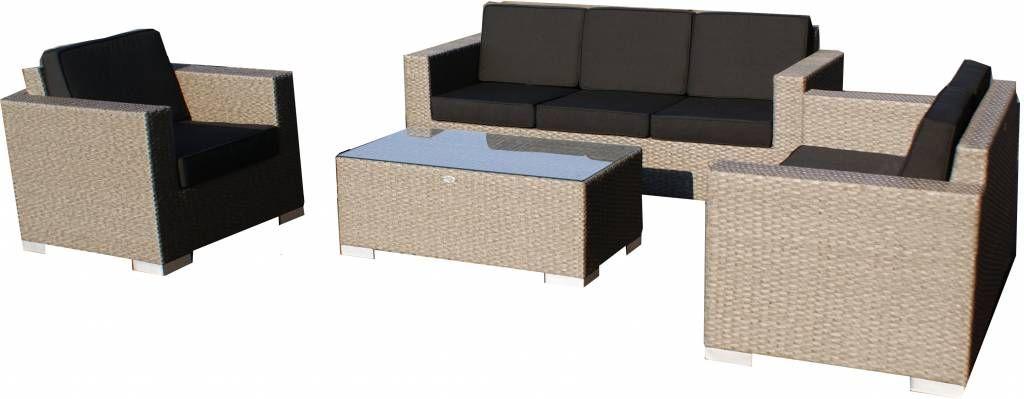 Loungeset Parijs 1111 -Grijs geborsteld - Plat vlechtwerk Jetzt - garten lounge mobel holz
