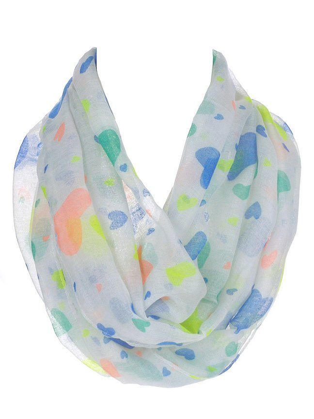 White Multicolor Hearts Infinity Scarf