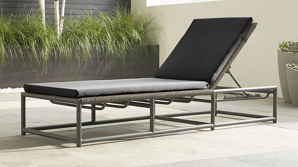 Morocco Graphite Chaise Lounge With Charcoal Sunbrella Cushion