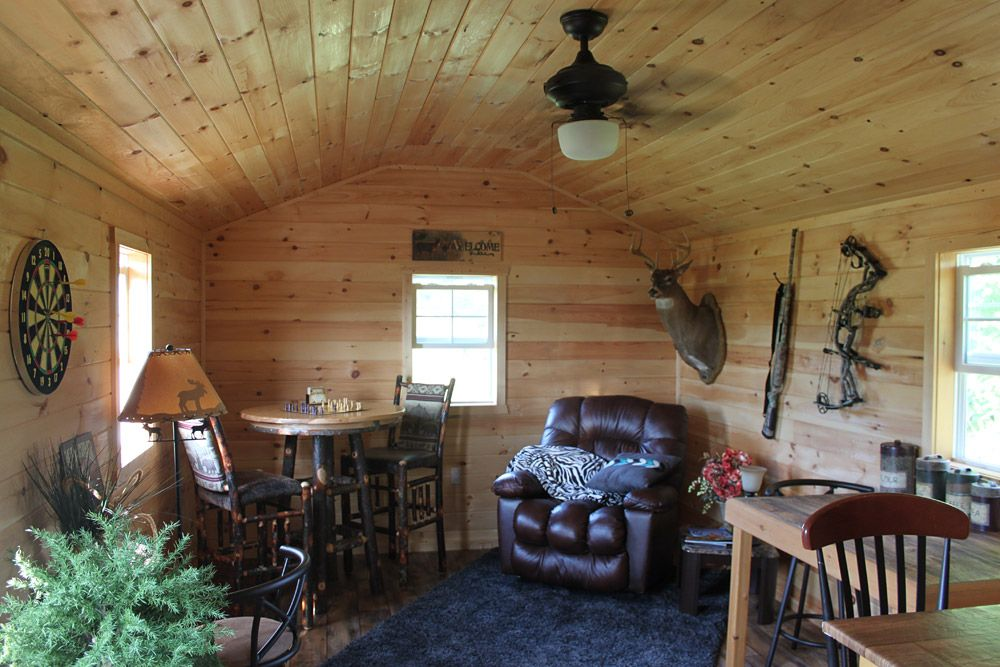 Man Cave Cabin Ideas : Man cave: pine paneled shed is a private wooden oasis men cave