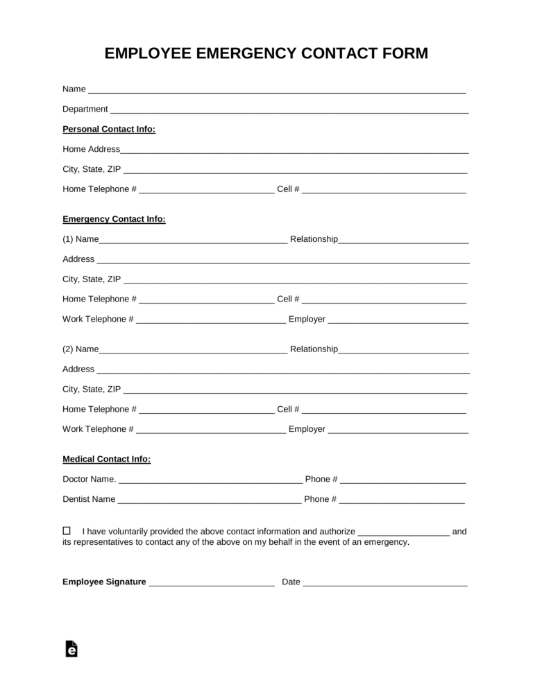 Free Employee Emergency Contact Form Pdf Word Eforms Regarding Emergency Contact Card Temp Emergency Contact Form Emergency Contact Contact Card Template