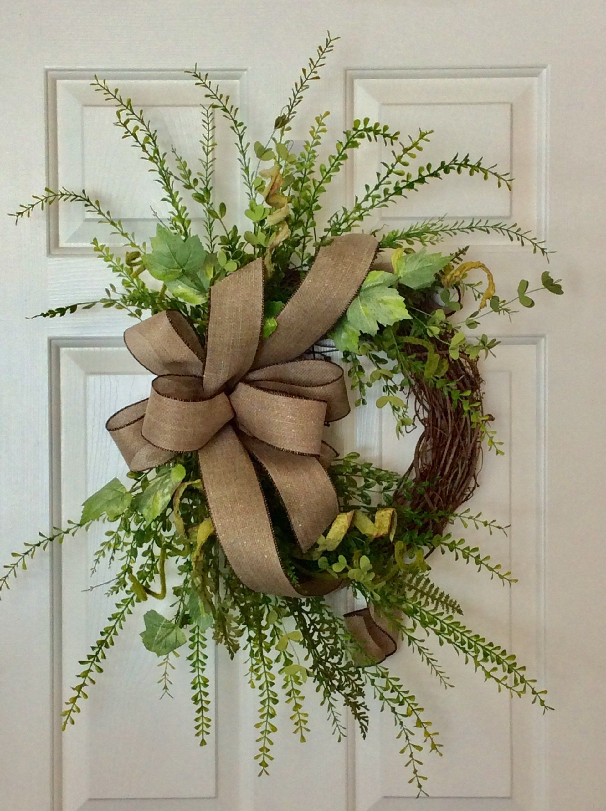Photo of Farmhouse green wreath for front door, grapevine wreath, farmhouse decor wreath, modern farmhouse, upper fixer style, gallery wall decor