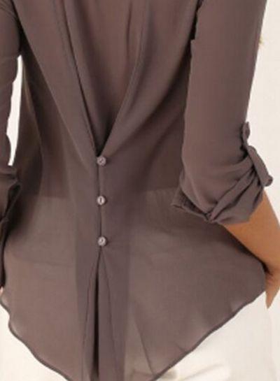 Women's Fashion V Neck Long Sleeve Solid Irregular Blouse - STYLESIMO.com