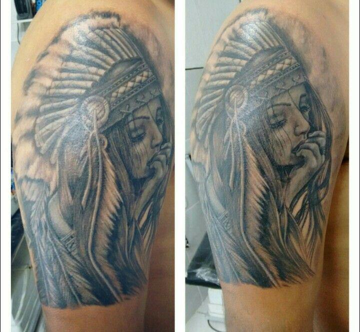 Índia ,Tattoo Black and grey By insanotattoo índio sp Brasil