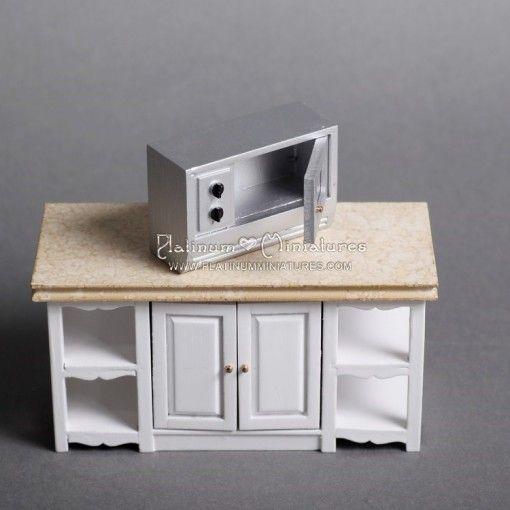 Miniature Furniture Fitted Kitchen Furniture Set White with Marbled Worktops