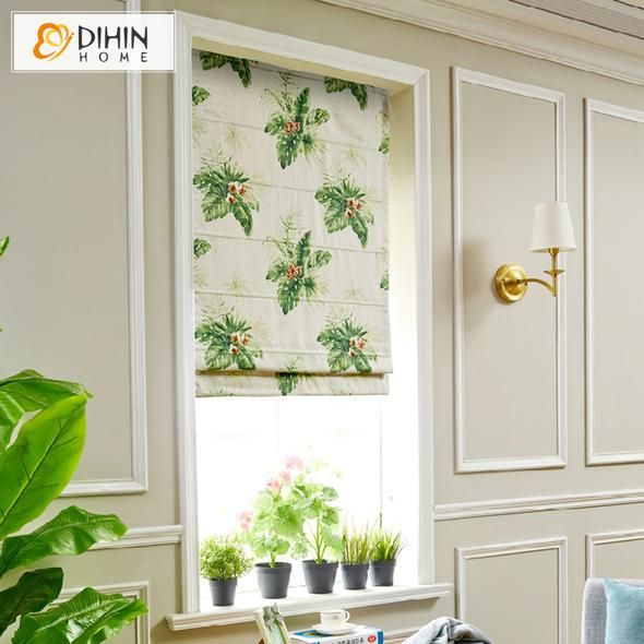 DIHIN HOME Flowers And Green Leaves Printed Roman Shades