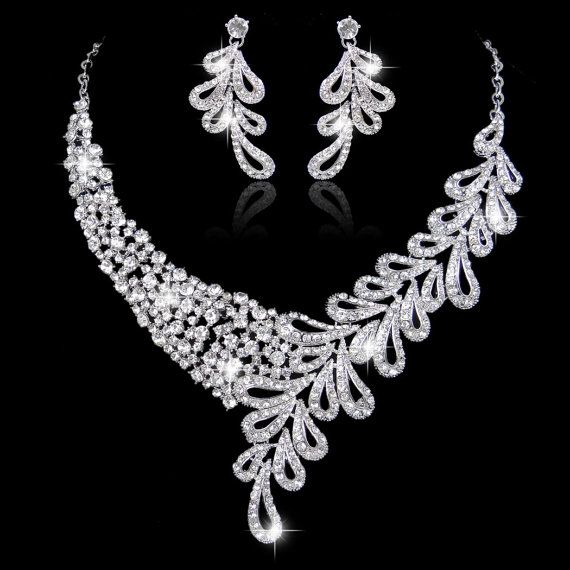 Art Deco Style Swarovski Crystal Bridal Jewelry Set by Annamall
