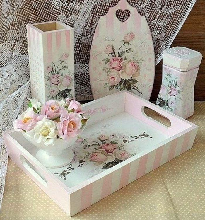 serviettentechnik mit tollen anleitungen und tipps pinke rosen holzbretter und serviettentechnik. Black Bedroom Furniture Sets. Home Design Ideas