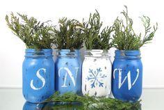 Photo of SNOW // Winter Decor // Painted Mason Jar Decor // Winter Decorations // Blue Mason Jars // Colorful Home Decor // Room Decorations