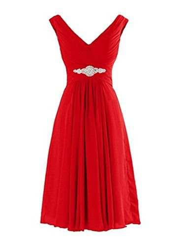 Deardresses Women's Straps V-neck Chiffon Short Bridesmai…