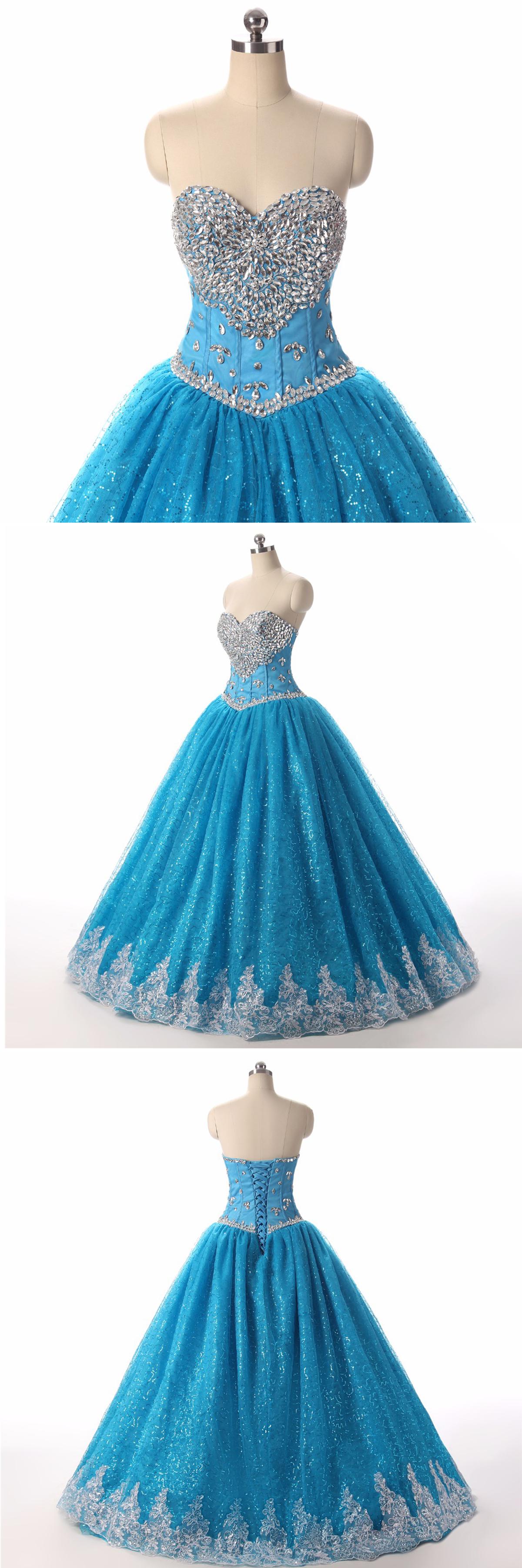 Princess blue tulle high waist floor length ball gown, long blue ...