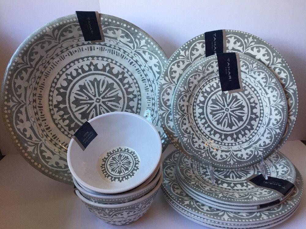 Tahari 13 PC Dinnerware Set Gray White Medallion Melamine Plates Cereal Bowls & Tahari 13 PC Dinnerware Set Gray White Medallion Melamine Plates ...