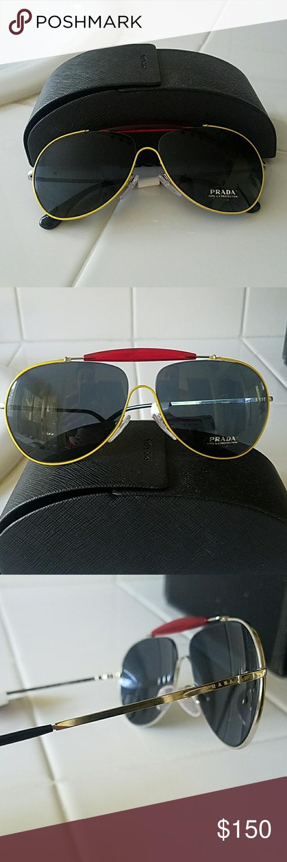 42443b24b3b Very cute unusual Prada sunglasses. Brand New (no tags) Aviator style  Silver