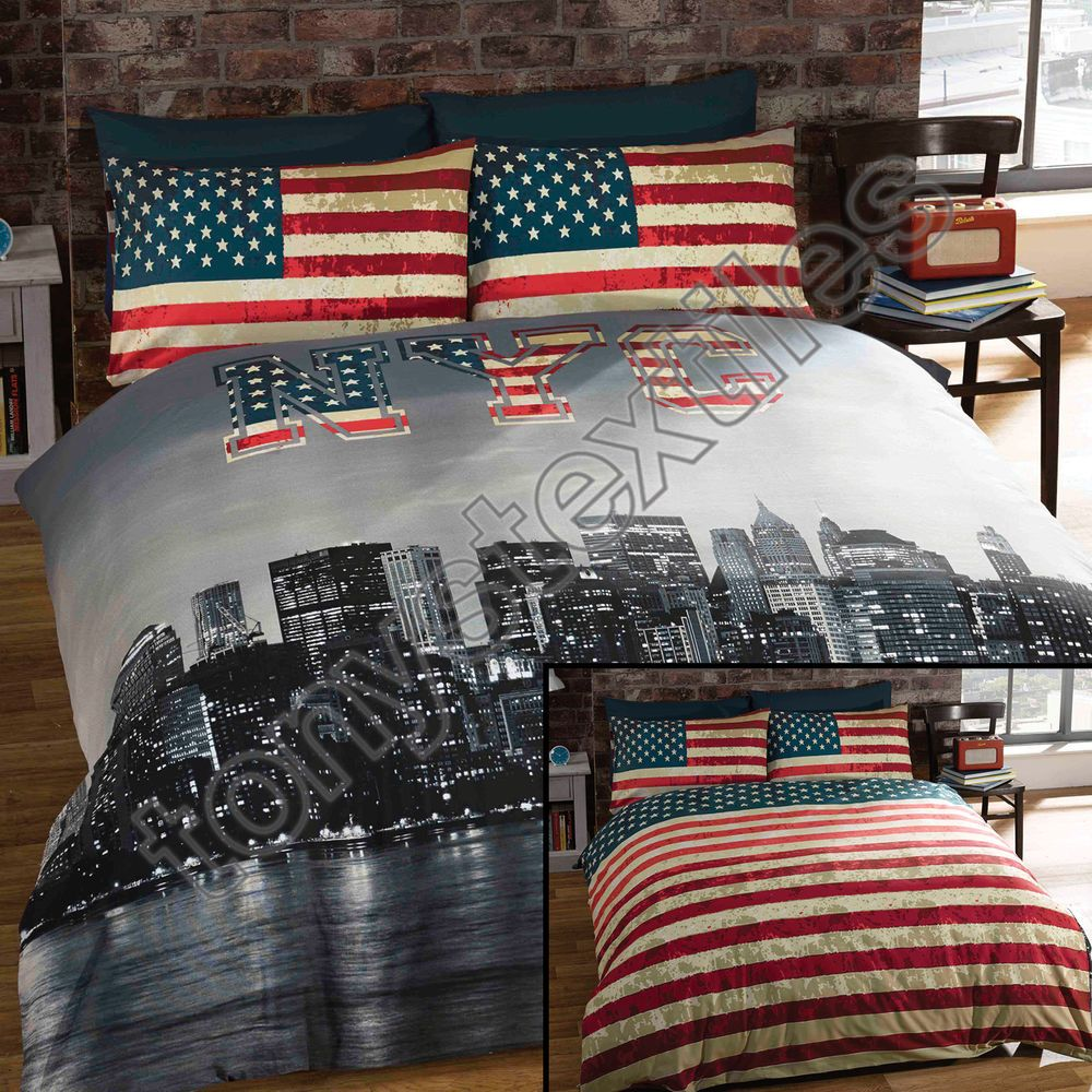 New York City Bedroom Furniture Details About New York City Skyline American Flag Usa Reversible