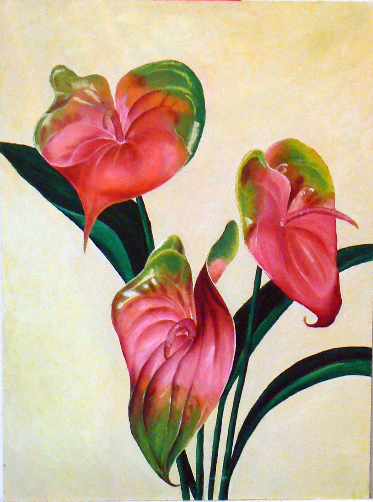 Anthuriums Still Life The Only Oil Painting I Ve Ever Done Hawaiian Art Watercolor Paintings Easy Painting
