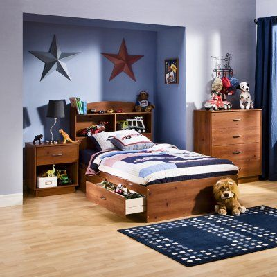 Bed shopping doesn't have to be complicated. The logical choice is the South Shore Logik Twin Bookcase Bed Collection - Pine. Constructed from engineered wood in a sunny pine finish this twin-size bed features two open storage cases and a top shelf to keep books in order. Two under-bed storage drawers provide even more storage and the bed's covered by a five-year warranty.     Best of all you can outfit the entire room by adding the nightstand an