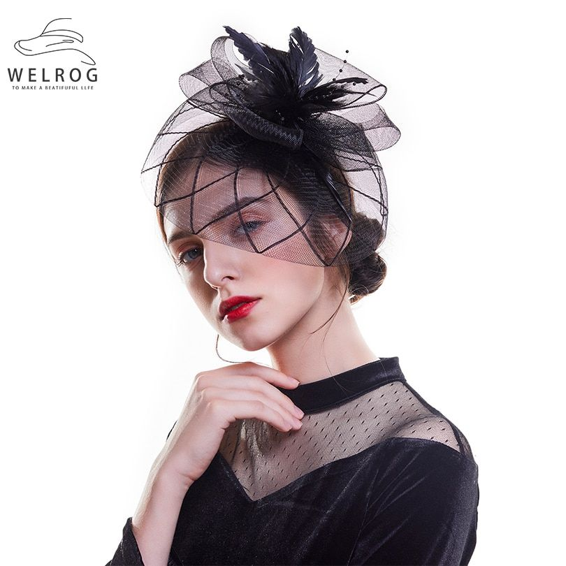 d252d52e WELROG Feather Cap Lady Cocktail Dinner Party Fedoras Wedding Bridal Mesh  Veil Hats Vintage Sombreros Chapeau Fascinators Hat [orc32894922534] -  $30.07 ...