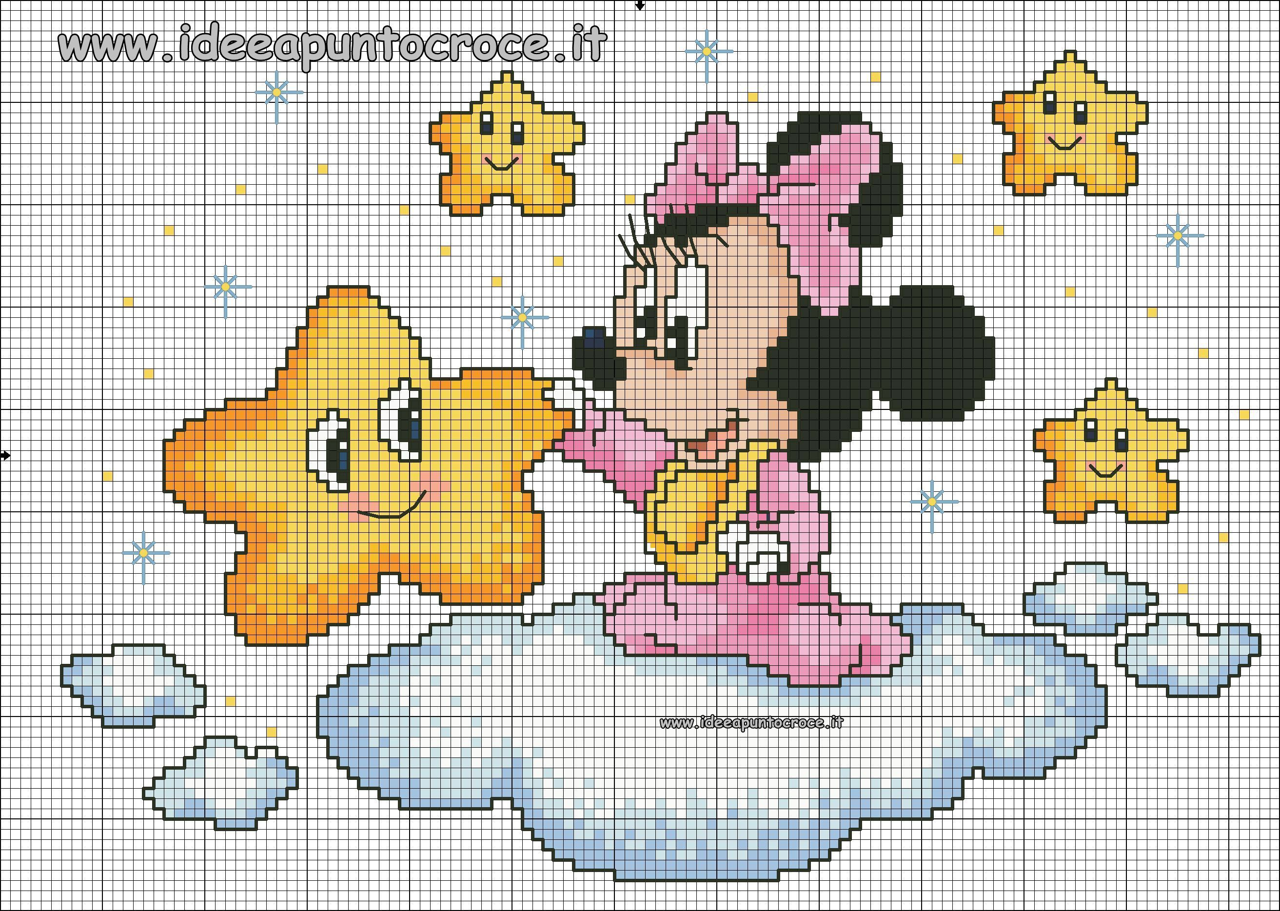 Schema Punto Croce Baby Minnie Punto Croce Disney Cross Stitch