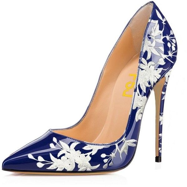 FSJ Women Vintage Heels Pointed Toe Pumps Stilettos Floral Printing... (€40) ❤ liked on Polyvore featuring shoes, pumps, wide slip on shoes, wide width stilettos, pointy-toe pumps, vintage pumps and stiletto shoes