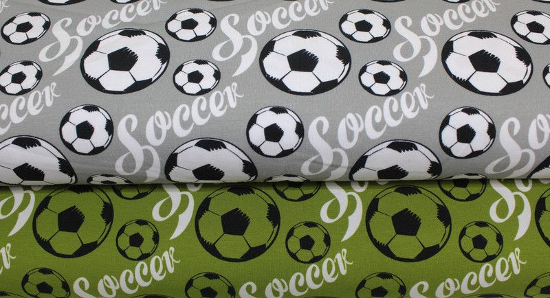 kinderstoffe jersey stoff soccer grau ein designerst ck von derbuntspecht bei dawanda. Black Bedroom Furniture Sets. Home Design Ideas