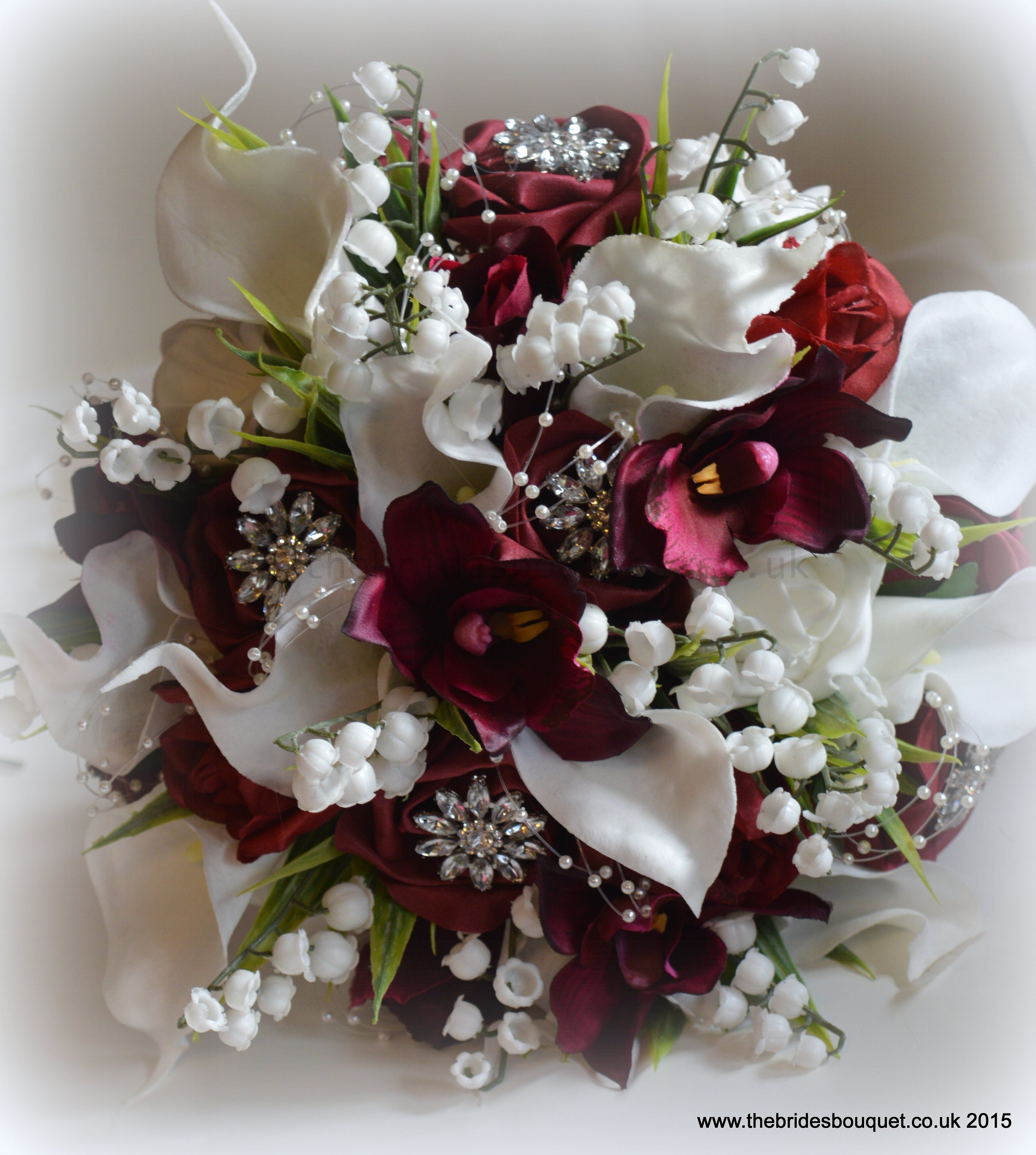 Lily Of The Valley Wedding Flowers: Burgundy And White Unique Bridal Bouquet Of Rose, Orchid