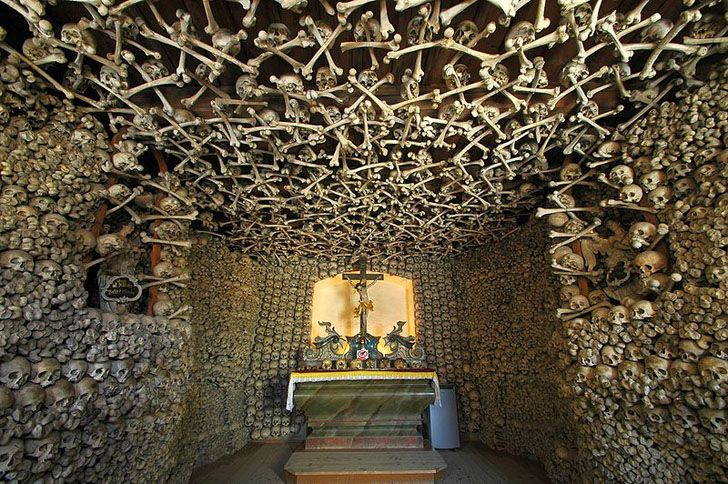 6 Creepy Churches Made of Bones Bodies from victims of the 30 years war and the Silesian Wars adorn the Czemna Chapel in poland. Built in 1176