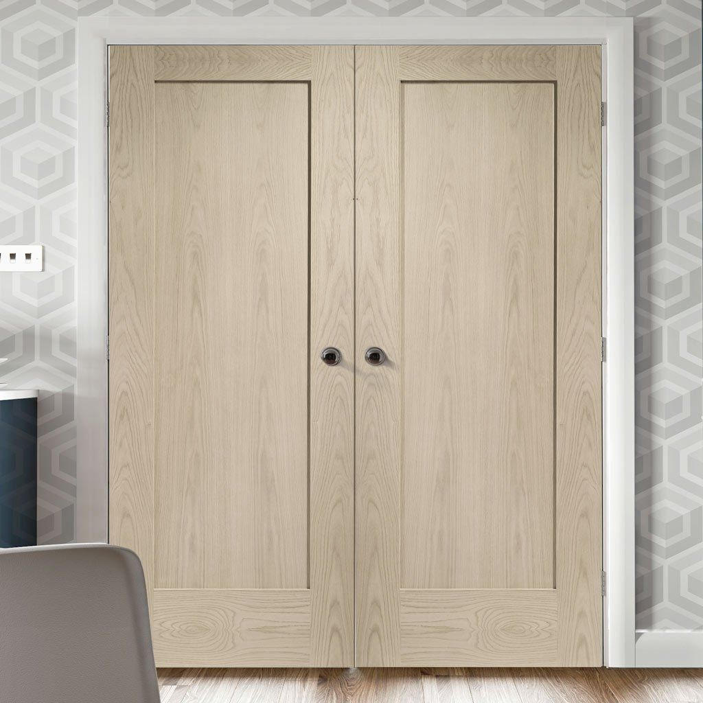 Prefinished Pattern 10 Oak 1 Panel Door Pair Choose Your Colour Panel Doors Door Fittings Oak Doors