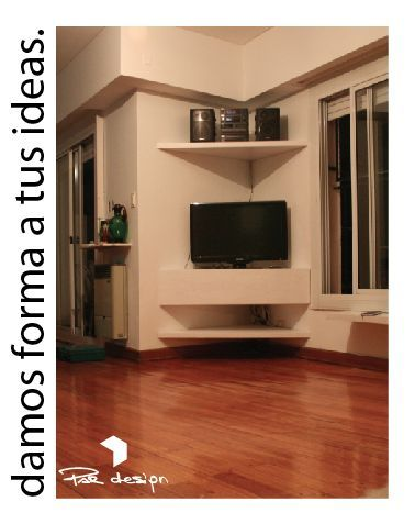 Pin de lourdes cecilia en ideas para sala pinterest tv for Esquineros de madera para sala