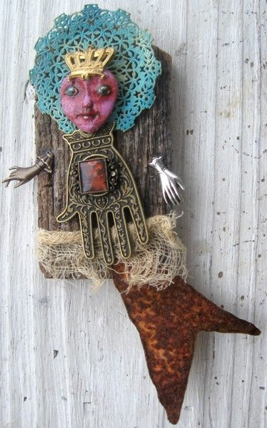 MINIATURE MERMAID SEA NYMPH FANTASY FOLK ART OOK PRIMITIVE ART DOLL ASSEMBLAGE FOUND OBJECT