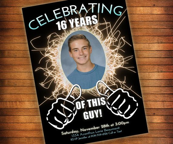 16th Birthday Invitation Thumbs Up Celebrating This By