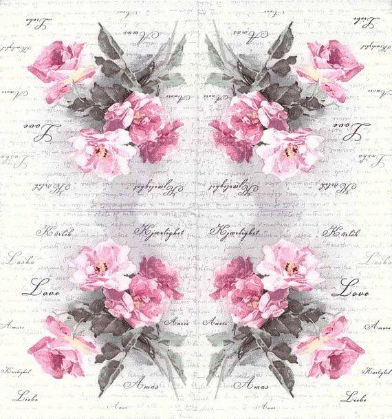 4 Designer Paper Napkins Vintage Roses Of Love Wedding Etsy Decoupage Paper Vintage Roses Paper Napkins For Decoupage