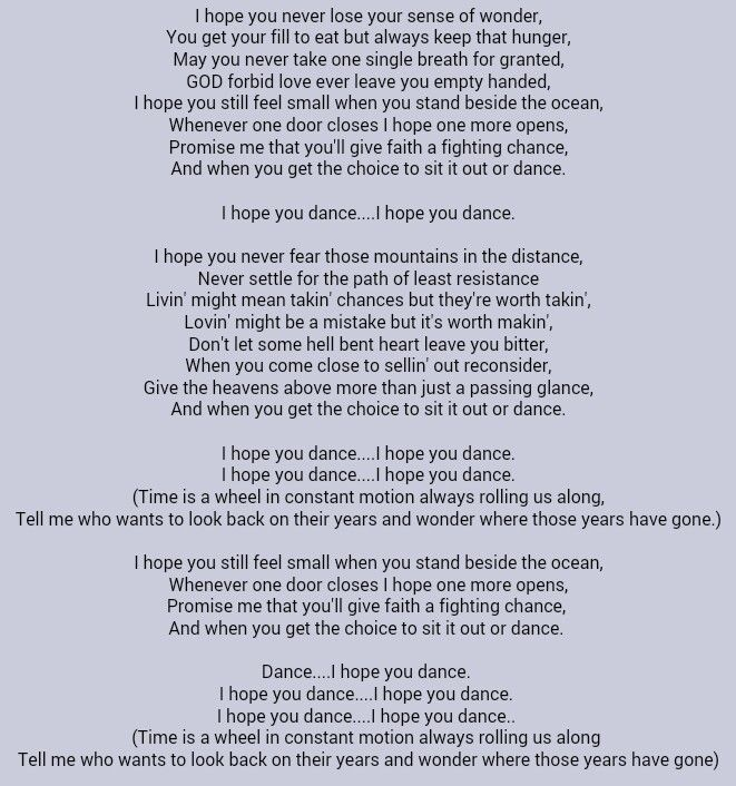 Lee Ann Womack I Hope You Dance Great Song Lyrics