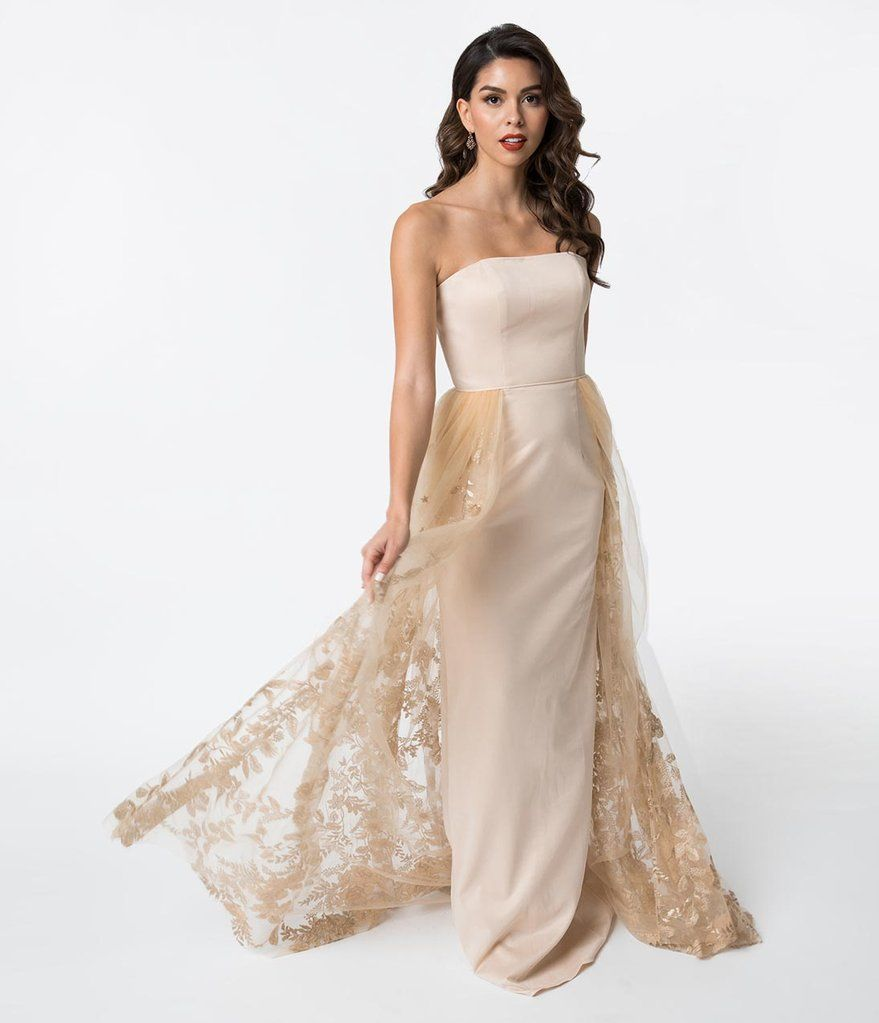 c4567358038f Champagne Strapless Jersey & Lace Overlay Fitted Gown | Wedding ...