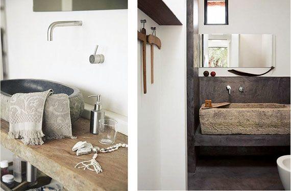 Lavabos de piedra para decorar baños rústicos - lavabos rusticos