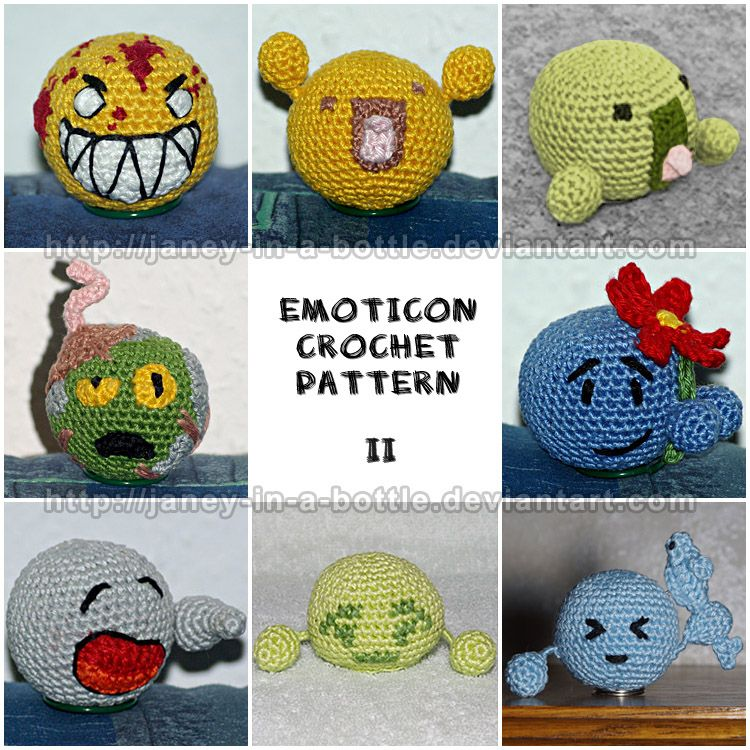 Emoticons Free Amigurumi Pattern http://janey-in-a-bottle.deviantart ...