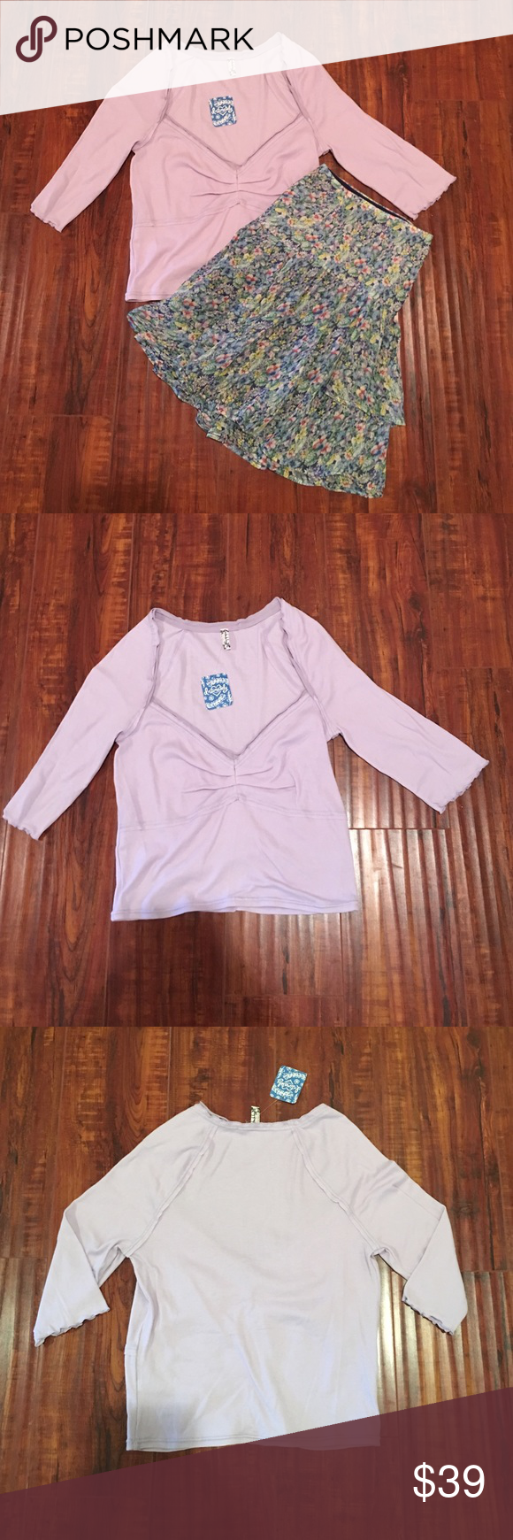 Free People Lavendar Cropped T-Shirt Free People lavendar cropped v-neck with ruffle and mid length sleeves. Brand new!! Free People Tops Tees - Short Sleeve
