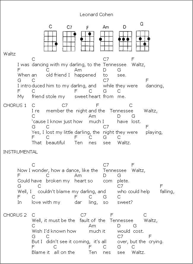 tenessee waltz: | Ukulele | Pinterest | Guitars, Songs and Ukulele ...