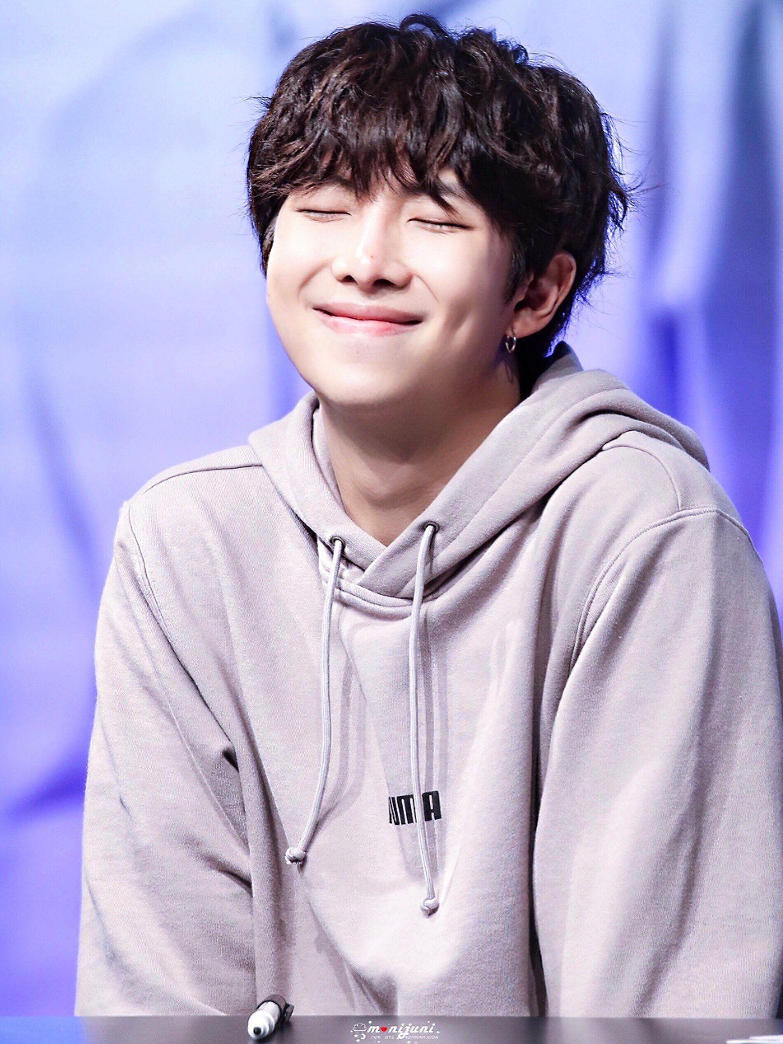 Kim Namjoon Rm Bts Puma Fansign 2018 Black Curly Hair Kim Namjoon Namjoon Bts Rap Monster
