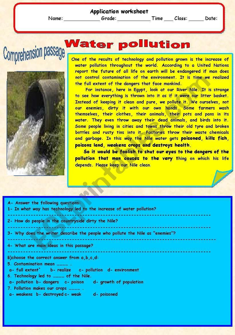 A Comprehension Passage Water Pollution Comprehension Passage Reading Comprehension For Kids [ 1169 x 821 Pixel ]