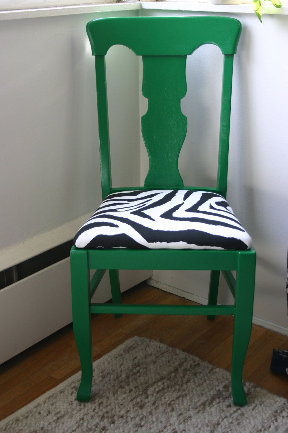 Vintage Chair Green Dining Chair with ZebraPrint Seat