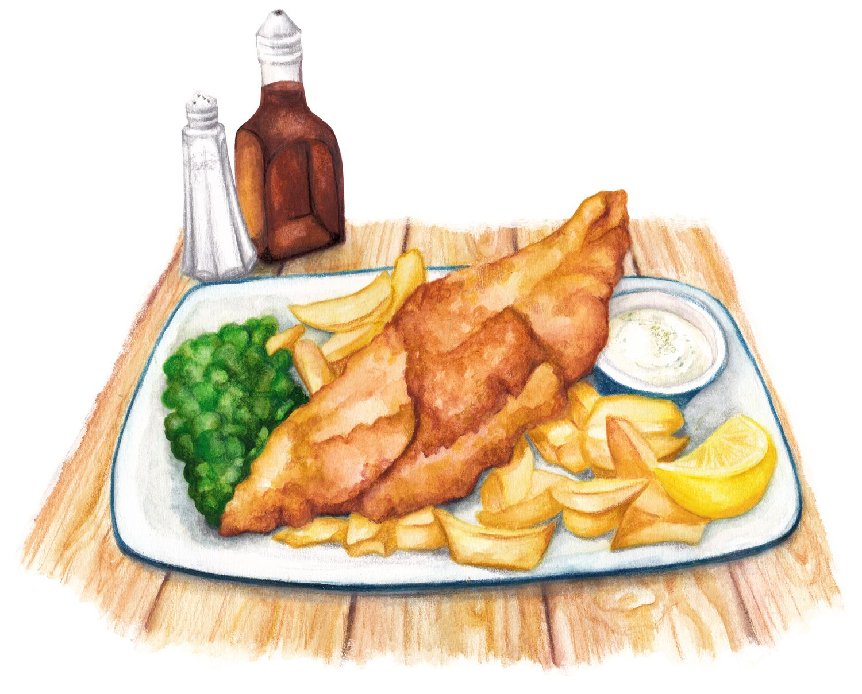Food Illustration Fish Chips On Behance Food Illustrations Food Fish And Chips