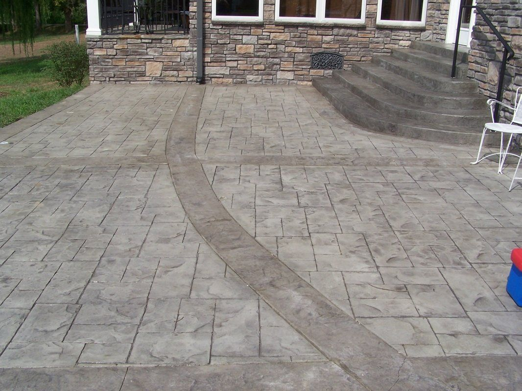Stamped Concrete Patio Ashlar Slate With Roman Slate Borders