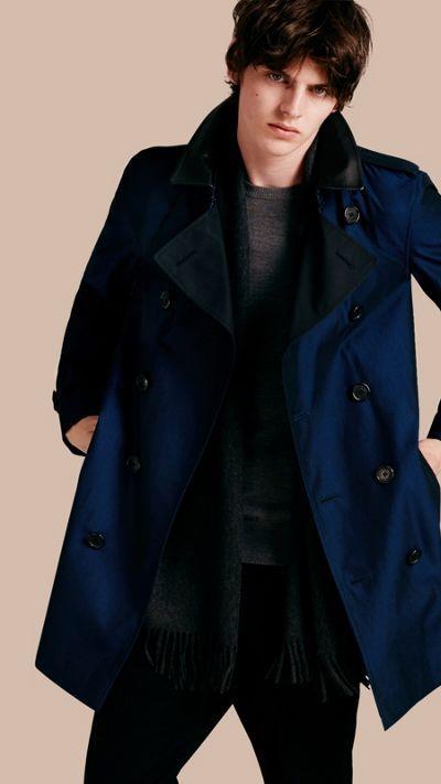 Bright regency blue Cotton Gabardine Trench Coat with Lambskin Topcollar 1