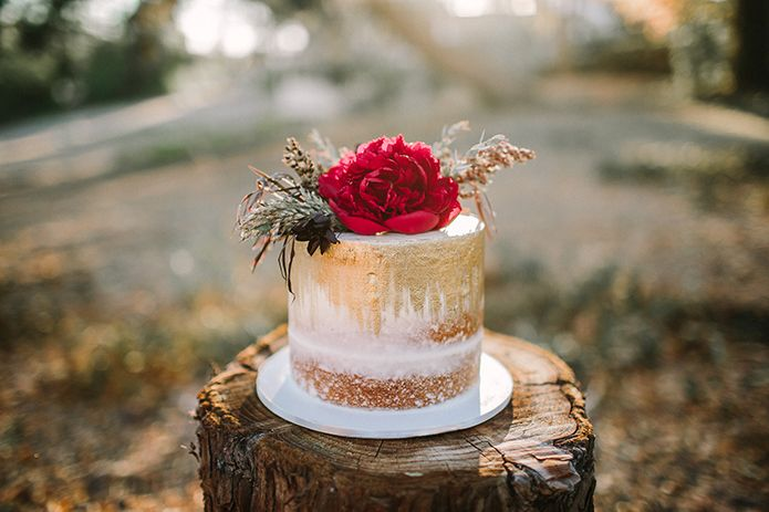 Bohemian barn wedding rustic photo shoot one layer white cake with bohemian barn wedding rustic photo shoot one layer white cake with gold design layered on top with red flower decor and greenery accents sitting on wood mightylinksfo