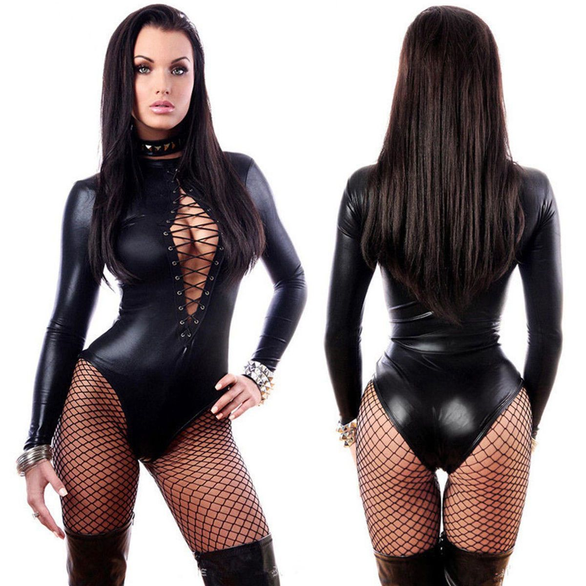 604a468601 Womens Wetlook Vinyl Pvc Catsuit Front Lace Up Bodysuit Jumpsuit Clubwear  Romper