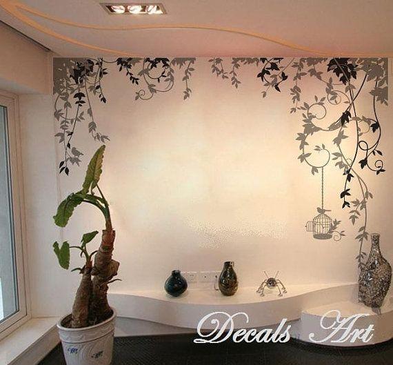 Vines vinyl wall sticker wall decal tree decals wall for Diy tree mural nursery