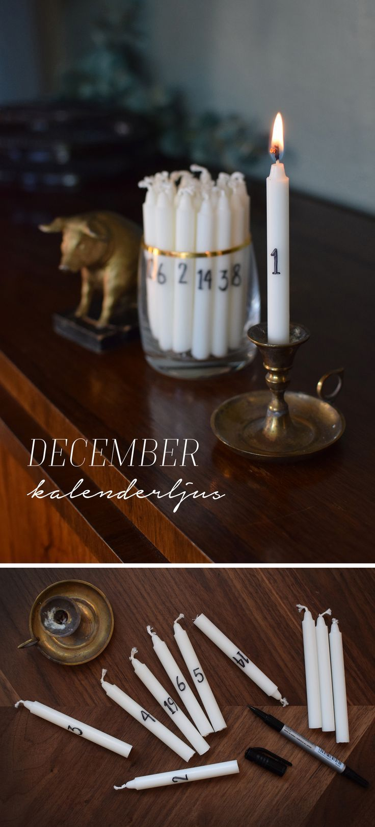 Photo of White candles with the date on it to count down to Yule